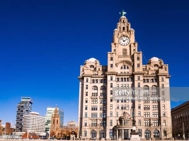 England, Liverpool, Pier Head and Royal Liver Building