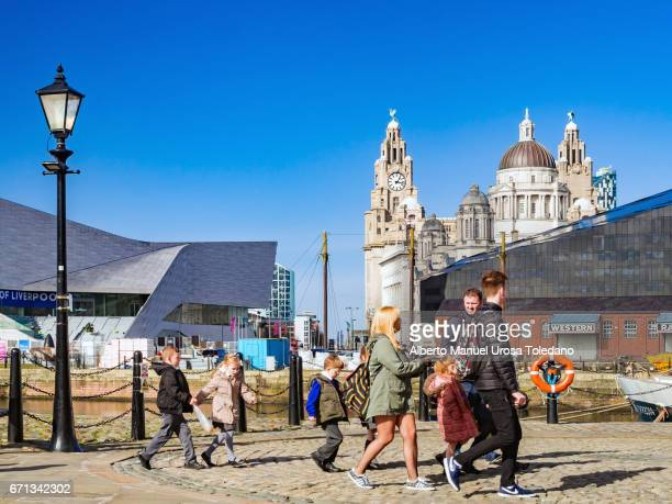 England, Liverpool, Pier Head and Three Graces
