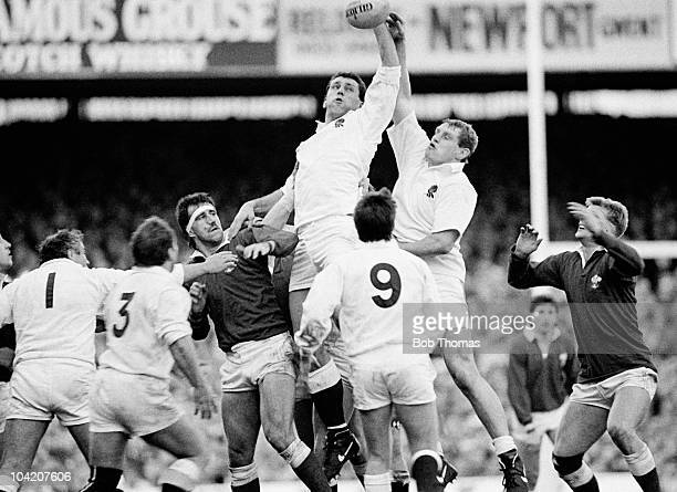 England lock Wade Dooley and Dean Richards in lineout action during a Rugby Union International match against Wales held at Twickenham London on 6th...