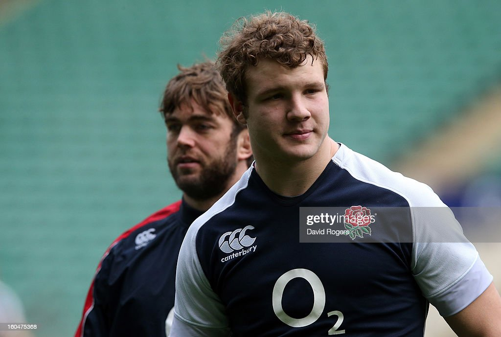 England locks Joe Launchbury (R) and Geoff Parling look on during the England captain's run at Twickenham Stadium on February 1, 2013 in London, England.