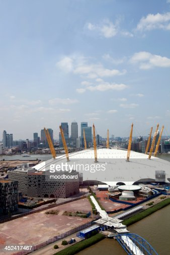 UK, England, London, 02 Arena and Canary Wharf Skyline : Stock Photo