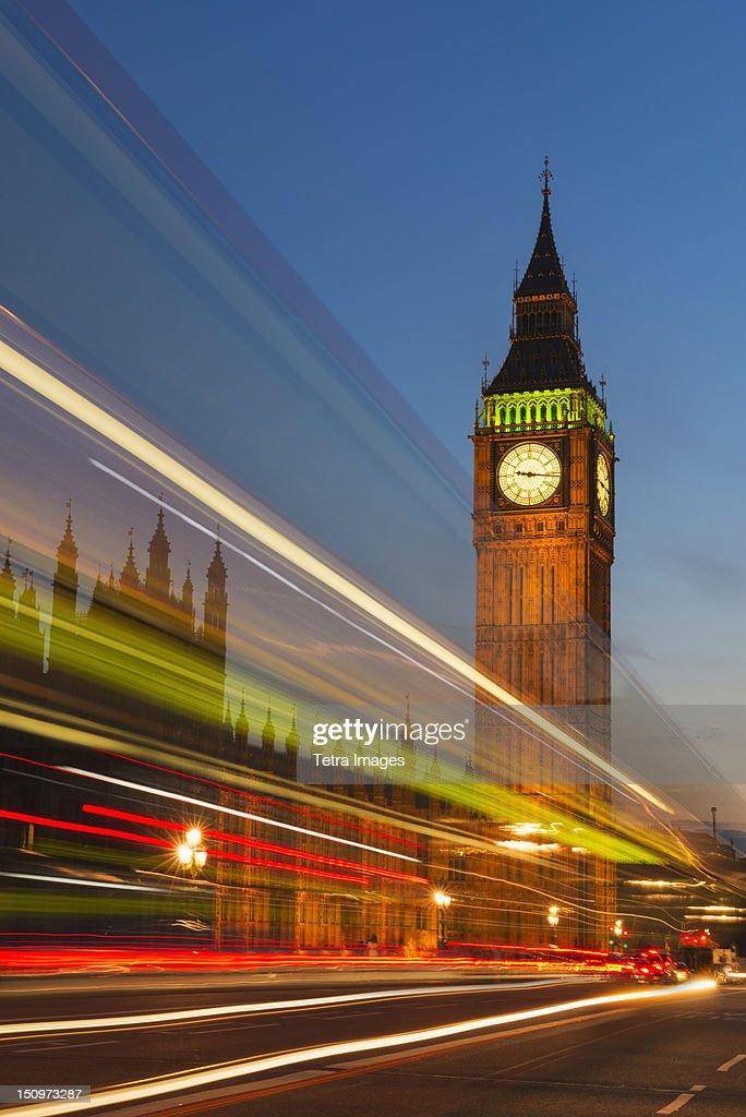 UK, England, London, Big Ben and light trails at night : Stock Photo