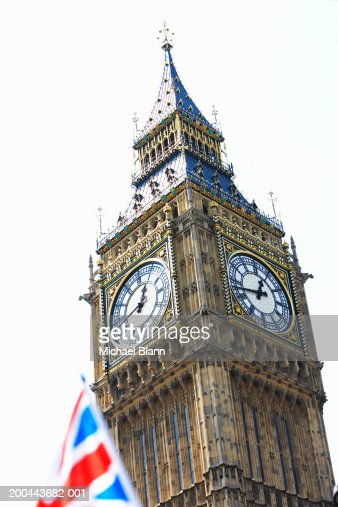 England, London, Big Ben, union jack flag in foreground : Stock Photo