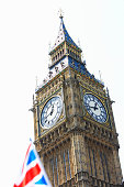 England, London, Big Ben, union jack flag in foreground