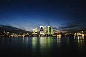 England, London, Canary Wharf and office buildings, skyline, night