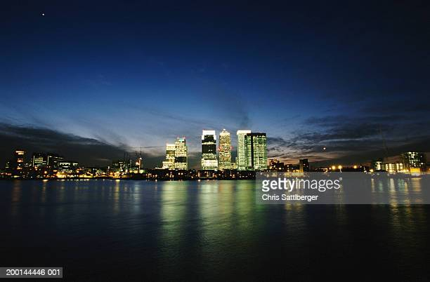 England, London, Canary Wharf and office buildings, skyline, night