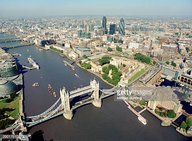 England, London, City of London and Tower Bridge, aerial view