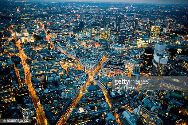 England, London, Cityscape at night, aerial view