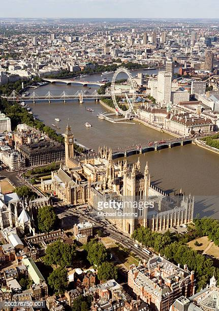 England, London, Houses of Parliament and London Eye, aerial view