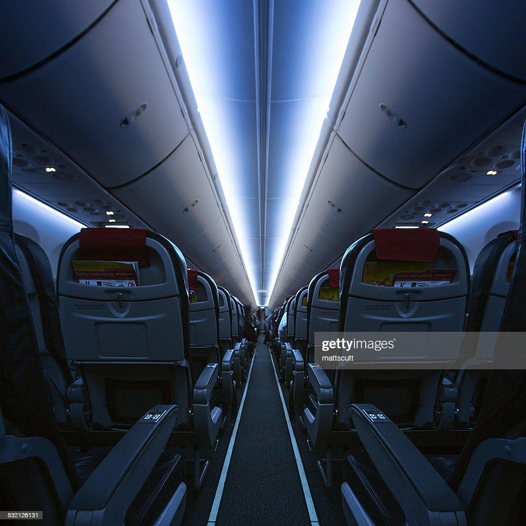 UK, England, London, Interior of empty airplane