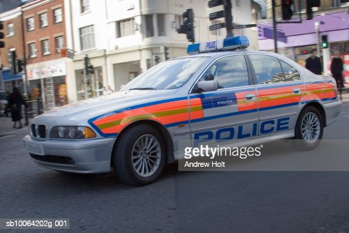 England, London, Richmond, BMW police car on city street : Stock Photo
