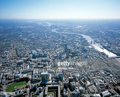England, London, River Thames and cityscape, aerial view : Stock Photo