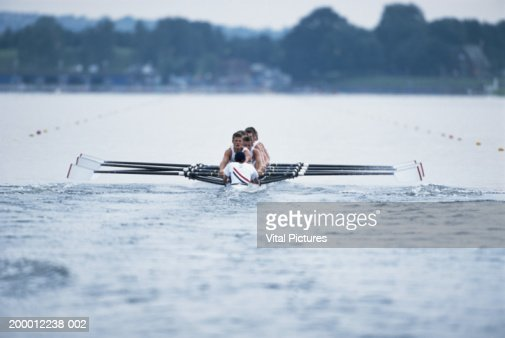 England, London, River Thames, rowing crew in boat : Stock Photo