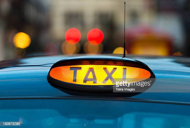 UK, England, London, Sign on taxi cab