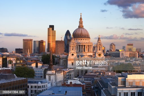 England, London, St Paul's Cathedral and cityscape, dusk
