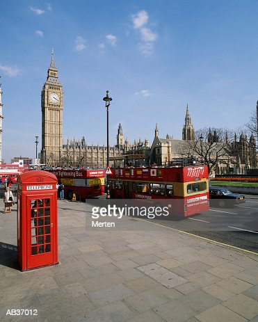 UK, England, London, street scene near Big Ben and Parliament : Stock Photo