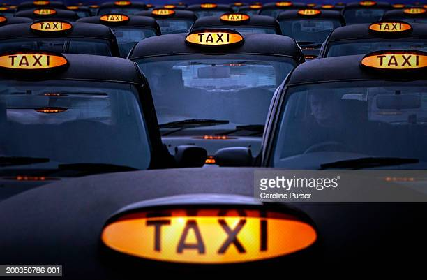 UK, England, London, taxi cabs queueing