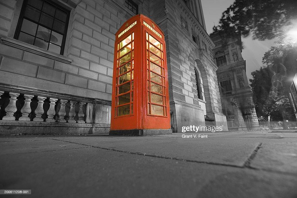 England, London, telephone booth, night (Digital Enhancement) : Stock Photo