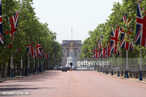 England, London, The Mall with Union Jack flags towards Buckhingham Palace