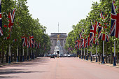 England, London, The Mall with Union Jack flags towards Buckhingham Palace