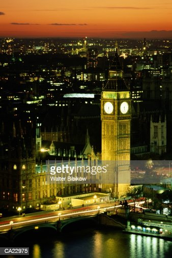 England, London, Westminster, Big Ben and Houses of Parliament, night : Stock Photo