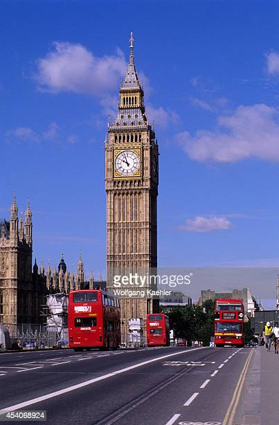 England London Westminster Bridge With Big Ben And Red Doubledecker Buses