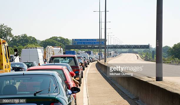 England, M25 motorway, traffic jam in one direction near junction 9