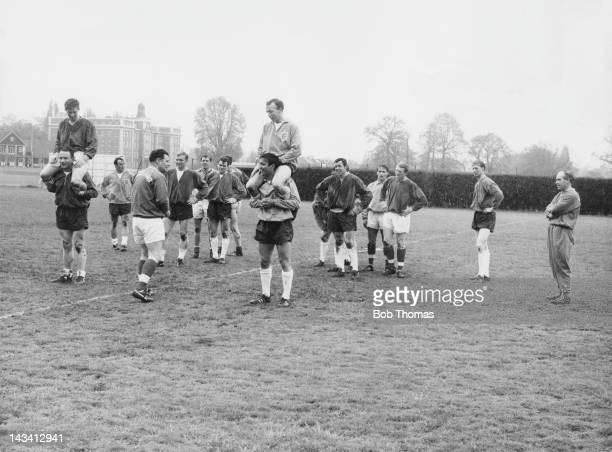 England manager Alf Ramsey watches the England squad during a training session at Roehampton London 4th May 1965 The team is preparing for a match...
