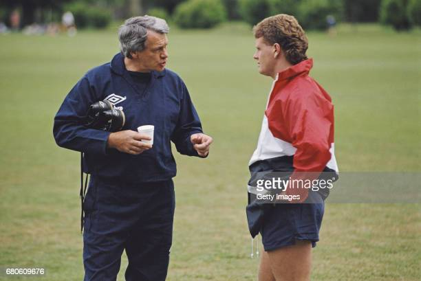 England manager Bobby Robson talks with player Paul Gascoigne during a training session circa 1990