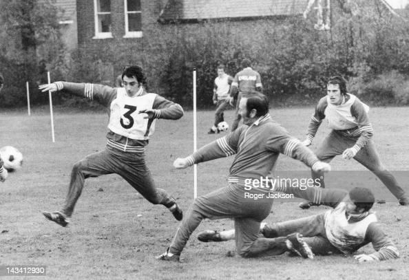 England manager Don Revie during a training session with the national team at Whetstone north London 12th November 1976 Also in action are Ray...