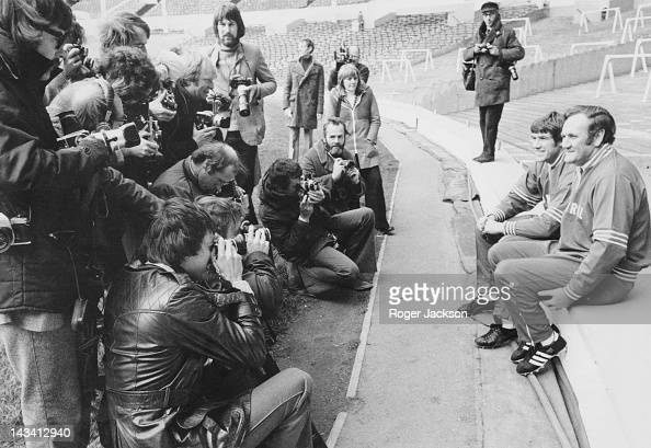 England manager Don Revie poses for photographers with team captain Emlyn Hughes at a training session for the national team at Wembley London 28th...