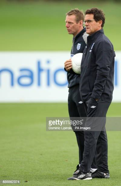 England manager Fabio Capello and Under 21's manager Stuart Pearce during a training session at London Colney Hertfordshire
