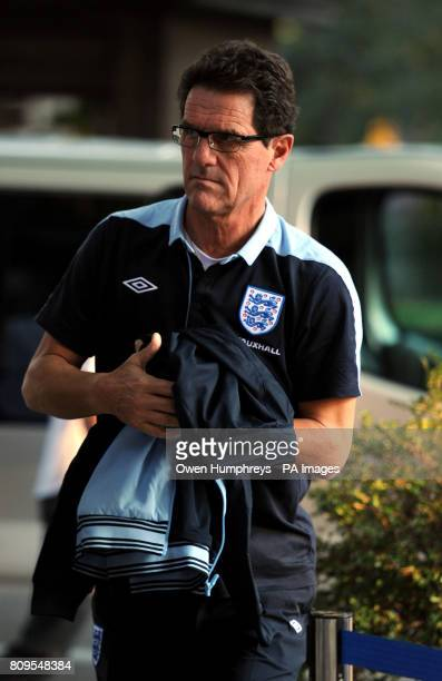 England manager Fabio Capello arrives ahead of the press conference at the Hotel Crna Gora Podgorica Montenegro