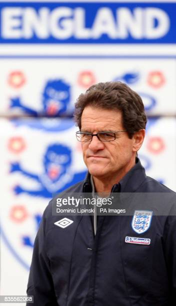 England manager Fabio Capello arrives during a training session at London Colney Hertfordshire