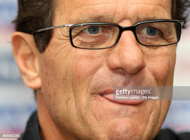 England manager Fabio Capello during a press conference at London Colney Hertfordshire
