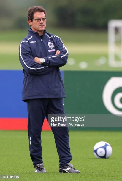 England Manager Fabio Capello during a training session at London Colney in Hertfordshire