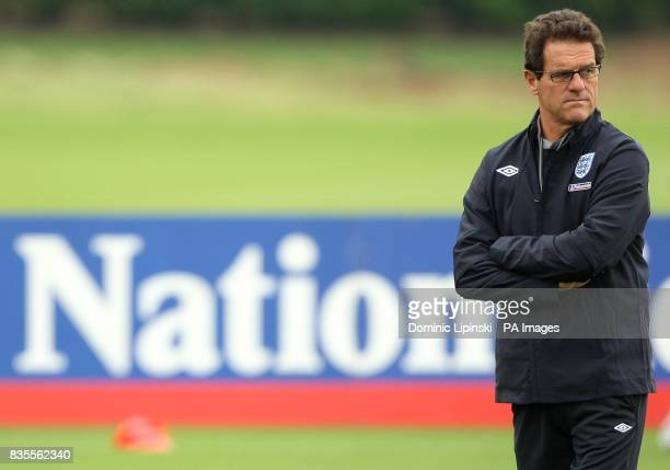 England manager Fabio Capello during a training session at London Colney Hertfordshire