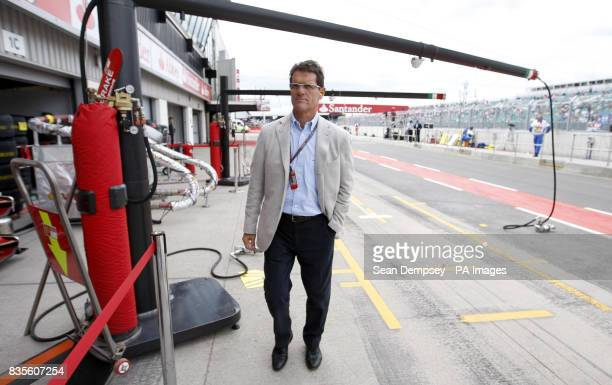 England manager Fabio Capello in the pit lane during the practice session at Silverstone Northamptonshire