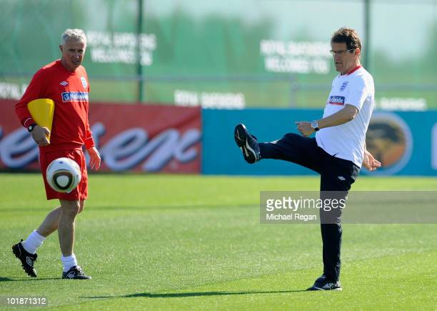 England manager Fabio Capello kicks a ball during the England training session at the Royal Bafokeng Sports Campus on June 8 2010 in Rustenburg South...