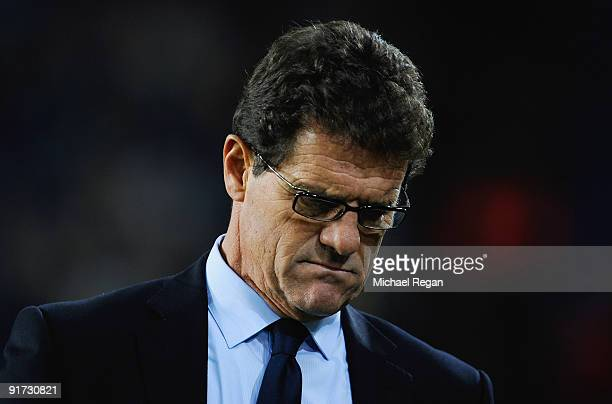 England manager Fabio Capello looks dejected during the FIFA 2010 World Cup Group 6 Qualifying match between Ukraine and England at the Dnipro Arena...