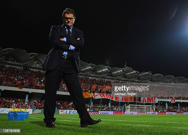 England manager Fabio Capello looks on during the EURO 2012 group G qualifier match between Montenegro and England at the Gradski Stadium on October...