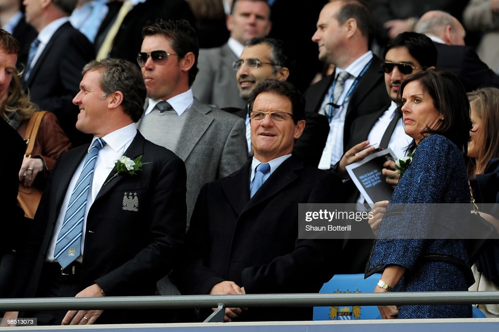 England Manager Fabio Capello looks on prior to the Barclays Premier League match between Manchester City and Manchester United at the City of Manchester Stadium on April 17, 2010 in Manchester, England.