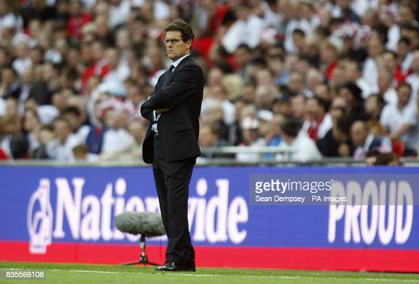 England manager Fabio Capello on the touchline during the match