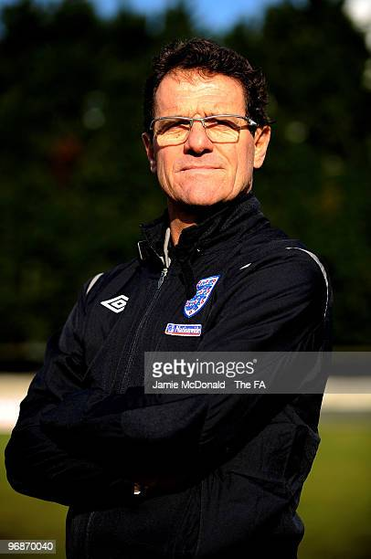 England manager Fabio Capello poses for a portrait during Northwood U13 boys team training on February 19 2010 in Northwood England