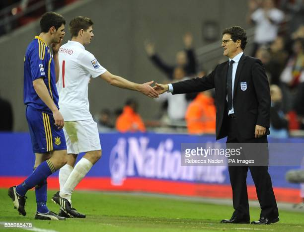England manager Fabio Capello shakes hands with Steven Gerrard after the final whistle
