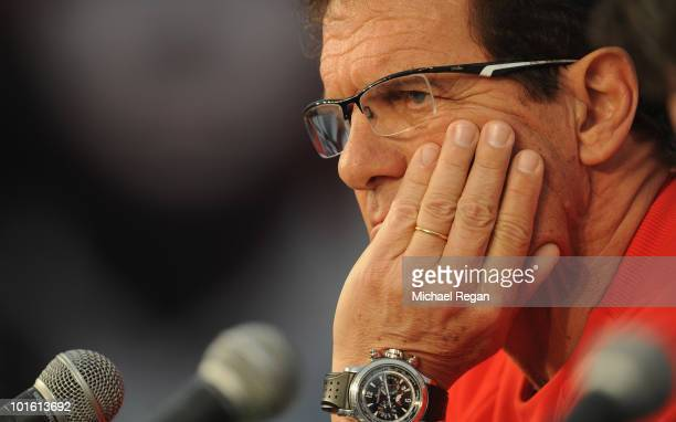 England manager Fabio Capello talks to the press after the England training session at the Royal Bafokeng Sports Campus on June 4 2010 in Rustenburg...