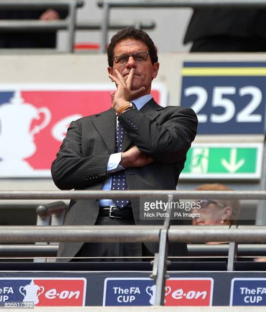 England manager Fabio Capello watches from the stands
