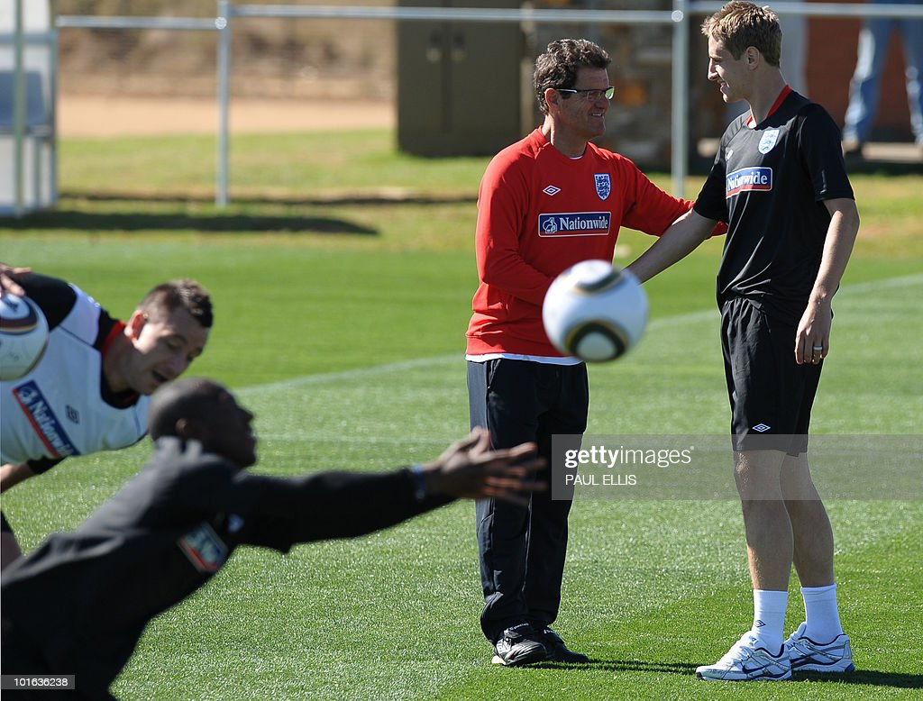 England Manager Fabio Capello (2nd R) welcomes replacement defender Michael Dawson as he arrives for a training session at the Royal Bafokeng Sports Campus near Rustenburg on June 5, 2010. Dawson was flown from England to replace captain Rio Ferdinand after he injured his knee during the team's first training session in the country on June 4.