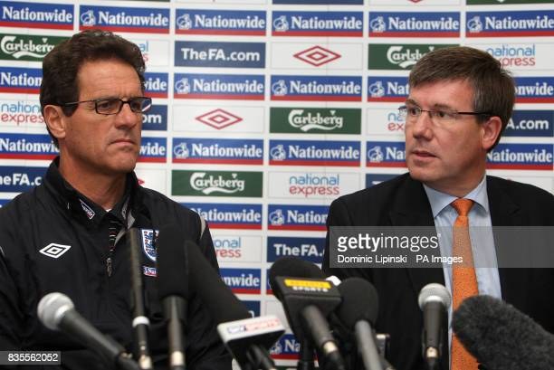 England manager Fabio Capello with FA Chief Executive Ian Watmore during a press conference at London Colney Hertfordshire