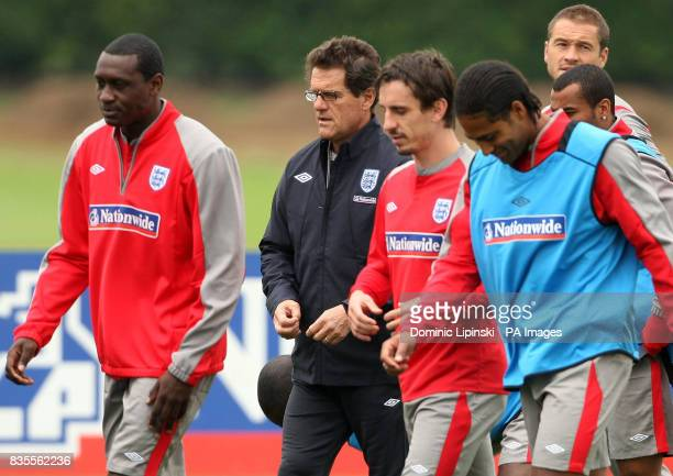 England manager Fabio Capello with his team during a training session at London Colney Hertfordshire
